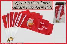 AUSSIE SURFING SANTA 8pc CHRISTMAS 30x15cm GARDEN FLAGS 45cm Poles Ho! Ho! Ho!