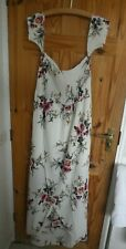 CREAM MULTI MAXI RUCHED TULIP FRONT DRESS   3XL  14/16/18  PLUS SIZE   STRAPLESS