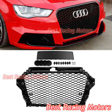 RS3 Style Front Grille (Gloss Black Frame + Honeycomb) Fits 14-16 Audi A3 S3 8V