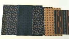 (5) Quality Rich Navy Blues & Browns Fabrics