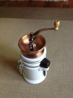 Coffee Grinder Hand Mill with Canister Ceramic & Bronze Copper Finish
