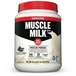 MUSCLE MILK Protein Powder COOKIES N CREAM 30.9oz 1.93LB - BB Date 4/19/21