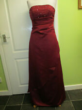 WOMENS BURGUNDY SATIN PROM DRESS BALL GOWN BY FOREVER YOURS UK SIZE 10