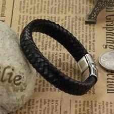 "Fashion Magnetic Clasp 7.5-8.5"" Gift Opk Men's Braided Leather Bracelets Bangle"