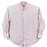 Izod Button Up Shirt Men's Size 2XL Long Sleeve Orange Blue White Check Free SH
