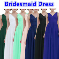 Sexy Women Ladies Bridesmaid Ball Gown Long V-neck Wedding Evening Party Dress