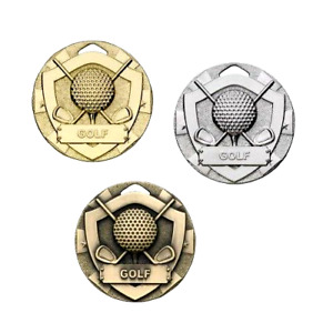 Golf Ball & Clubs 50mm Shield Medals with FREE ribbon, engraving & UKpp G770/1/2