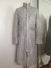 Gianni Versace Lambs Leather Zebra Print Silver Coat Size L Est 10-12