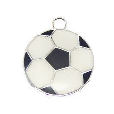 20pcs Rhodium Plated Black White Soccer Ball Cartoon Enamel Pendant Charm