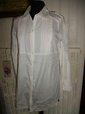 Chemisier long blouse tunique blanc stretch EDC ESPRIT M 38/40 manches longues