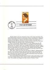 #2146 First Day Ceremony Program Program 22c Abigail Adams Stamp