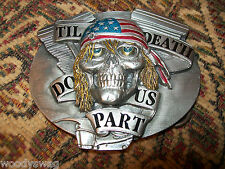 Til Death Do Us Part Biker Belt Buckle nos USA Free ship USA Skulls Motorcycle