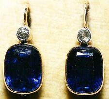 Antique 14 K Gold Earrings w/ Sapphire & Natural Diamant, Brilliant 1920's