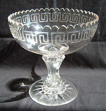 19th Century Cut & Engraved Flint Glass Compote ~ Greek Roman Key ~ Hollow Stem