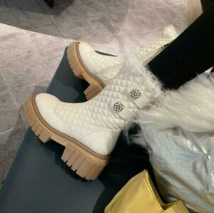 Women Real Leather Snow Boots Wool Lined Thick Sole Platform Chunky Heel Shoes