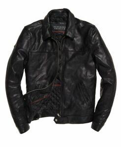 "Superdry Premium Indiana Leather Jacket Black Size: 2XL 44"" (112cm) RRP £449.99"