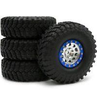 4pcs RC 1.9'' Crawler Mud Tires Tyre Height 114mm & 1.9 Alum Beadlock Wheel Rims
