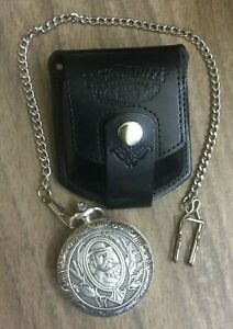 JACK DANIELS OLD NO. 7 SILVER POCKET WATCH, CHAIN AND LEATHER POUCH, NEW ITEM!