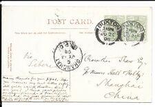 CHINA 1908 INCOMING CARD FROM UK