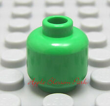 NEW Lego BRIGHT GREEN MINIFIGURE HEAD - Plain/Blank Color Minifig Head