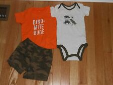 NWT - Carters 3pc camoflage, white & orange dinosaur shorts outfit - 12 mos boys