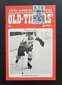 Detroit Red Wings vs Old-Timers 1968 Hockey Program & Ticket Stub