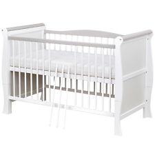 Babybett Kinderbett Gitterbett umbaubar Weiß / Grau Massivholz 140x70