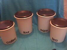 Vintage 70's Plastic Kitchen Canister Set Collectible Kitchenware with Lids