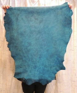 Waxy AQUA Full Grain Leather Hide for Native Crafts Buckskin Purses Journals