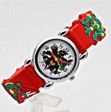 Reloj de Pulsera Ninja Turtles Niños Niños Niñas Analógico Correa De Silicona Rojo Slim B