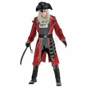 Zombie Pirate Captain Mens Fancy Dress Halloween Adults Costume Standard Size