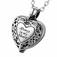 Always in my Heart Locket Jewellery Cremation Urn Pendant Ashes Necklace - UK .