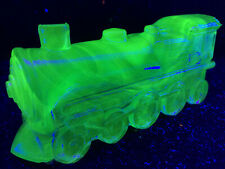 Blue Vaseline glass train engine uranium railroad boyd car RR Cobalt steam glows