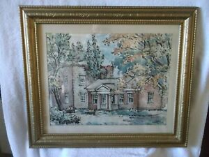 LARGE SIGNED Max Fernekes Mineral Point Wisconsin WPA Artist Framed Watercolor