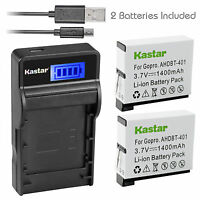 Kastar Battery Charger Hero Gopro4 GoPro AHDBT40 AHBB-401 Hero 4 HD Black Silver