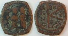 Byzanz Justinus II. 565-578 n.Chr Thessaloniki Bronze Halbfollis (3) s-ss