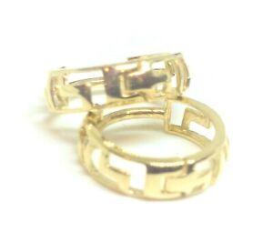 10KT YELLOW GOLD 12MM SMALL GREEK KEY HUGGIE EARRINGS-GIFT BOX-FREE SHIPPING