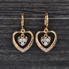 Zirconia Love Hearts Dangle Cz Earrings Fashion Women Gold Plated Clear Cubic