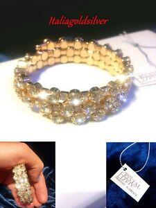 Bracciale Donna SWAROVSKI ORIGINALI Oro Giallo Cristalli Zirconi SPOSA Gioielli