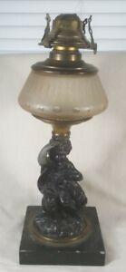 Antique Victorian Cast Iron, Marble Little Girl Dog Statue Oil Lamp Metal Art