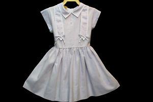 Approx Sz 3  Girls Vtg 50s Dress Purple White Gingham Childs A Handcraft Frock