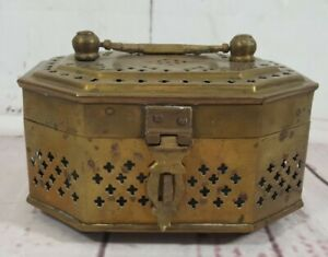 Vintage Brass Trinket Box Incense Cricket Cage India Hinged w/ Latch