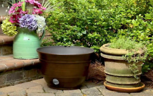 "High Density Resin Antique Bronze Garden Hose Pot, 12"" x 18"""