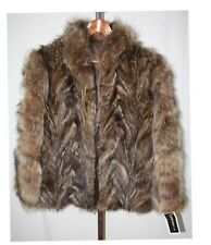 Fureverfur Ladies Womens Brown Genuine Raccoon Fur Coat Size M