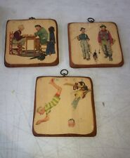 "Vintage Set of 3 Norman Rockwell Wall Plaques Wood 9"" x 9"" Seasons"