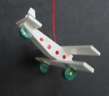 Vintage Kurt Adler Wood Biplane Airplane Christmas Ornament White Holly Euc!