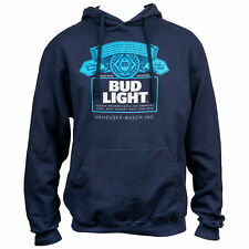 Bud Light Bottle Label Navy Blue Hoodie Blue