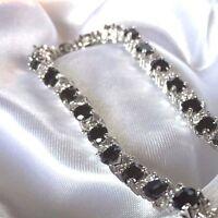 GB Black Onyx Sim Diamond 18.4cm Silver Bracelet (white gold fill) BOXED Plum 01