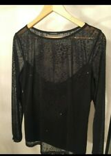 Christmas Party Sparkly Patterned Chiffon Long Sleeve Black Top S18