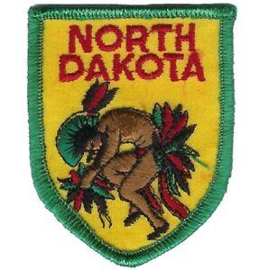 "Vintage North Dakota Patch - Native American, Indian 2-7/8"" (Sew on)"